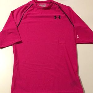 Under Armour PINK Raglan Sleeve Compression Tee L